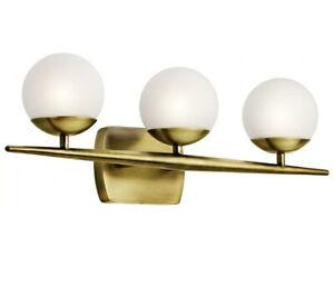 New Kichler 45582 Brass Jasper 3-Light Bathroom Vanity Light