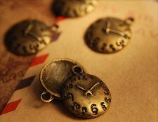 12x Metall Anhänger Charm Uhr bronze 14x17mm mb1398