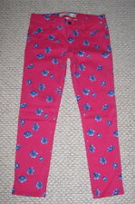 NWT ABERCROMBIE DARK PINK BLUE FLORAL SKINNY 2 ANKLE STRETCH JEANS