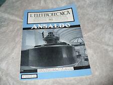 RIVISTA L'ELETTROTECNICA AEI N.21 11/1941 ANSALDO ALTERNATORE TRIFASE BRESSANONE
