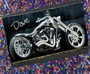 Personalised Motorbike Coin or Note Wallet - add a Name - Christmas Gift for HIM