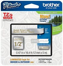"Genuine Brother P-Touch TZeMQ934 1/2"" Gold on Satin Silver Tape TZMQ934"