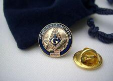 Masonic Freemason Proud To Be A Freemason USA Flag Lapel Pin Plus Gift Pouch
