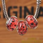 New 10pcs 14mm European Bracelet Resin Heart Pattern Big Hole Beads Red
