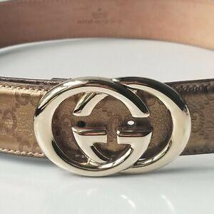 "GUCCI belt Gold GG buckle bronze logo leather 85 cm 34"" NIB 100% authentic"