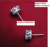 Crystal 925 sterling Silver plating 30% White GOLD Crown Wedding Stud Earrings