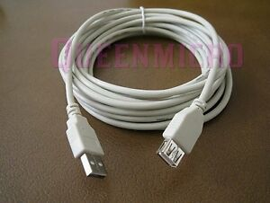 15FT Premium USB 2.0 Type A Male to Female Extension Shielded Cable Ivory 15'ft