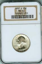 Rare NGC MS 64 1937-D Washington Quarter DDR I-O-III, Dbled T, (Lange/M.Fey)