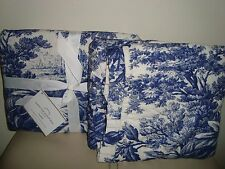 Pottery Barn Matine Toile Quilted Shams  S/2 Standard  TWILIGHT BLUE NEW