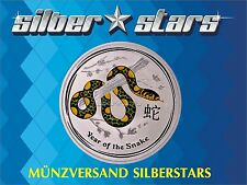 1 OZ Silber Lunar II 2013 Schlange Snake mit Farbapplikation color
