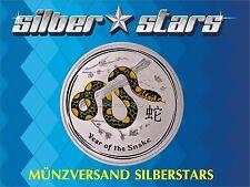 2 OZ Silber Lunar II 2013 Schlange Snake mit Farbapplikation color