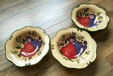 Home Trends 3 Granada Rimmed Soup Bowls Fruit Apple Plum Grapes Discontinued