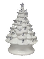 youngs 90861 Ceramic White Christmas Tree with Lights, 8-inch Height, White