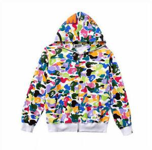 Lovers Bape Shark Jaw Candy Colors Hoodies A Bathing Ape Camo Coat Sweatshirt