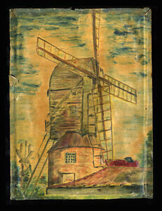 """1963 Oil on Paper, Windmill at Mountnessing, Essex by Donald Gooding, 15 x 11"""""""