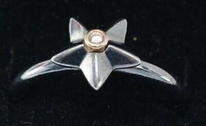 Authentic PANDORA Two Tone Oxidized Silver Stella Star Diamond Ring 190845D Sz 7