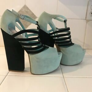 Dolce Vita platform leather suede strap sandals shoes Mint /Black 9,5 US  NWB