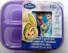 DISNEY FROZEN ANNA ELSA & OLAF SECTIONED LUNCH KIT CONTAINER Reusable BPA FREE