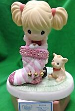 Precious Moments Bling In The Holidays  Retired 2013 Girl w Cat Pink 131016 NIB