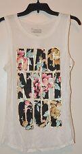Freeze Juniors Ivory Graphic Sleeveless Tank Tee Shirt Sz S