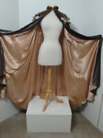 Rare Antique Plush Brown Velvet Art Deco Embroidered Cape Fur Trim STUDIO PIECE