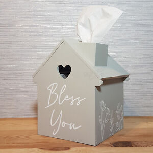 Light Grey Wooden House Tissue Box Cover Shabby Chic Hearts Storage Home Decor