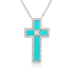 14K White Gold Turquoise Diamond Cross Pendant Necklace Womens 1.19 TCW Natural