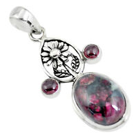 15.26cts Natural Pink Eudialyte Garnet 925 Sterling Silver Flower Pendant P56846