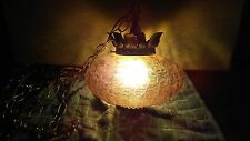 Vintage 70'S Mid Century Amber Glass Hanging Swag Pendant Light Crackle Glass
