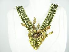 "HEIDI DAUS  ""Fall Foliage"" Three Strand Faux Pearls & Crystal Station  Necklace"
