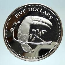 1975 BELIZE Avifauna Toucan Antique Genuine Antique Proof Silver $5 Coin i76816