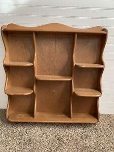 """Vintage Wood Tea Cup/Saucer Display Wall Shelf 32"""" Knickknacks Retro Curio Shelf"""