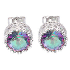 Fashion Rainbow Topaz Women Jewelry Gems Silver Earrings Stud 10mm OH3694