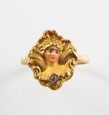 Antique 14k Gold Art Nouveau Enamel & Diamond Maiden Lady Ring Size 6.25