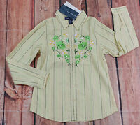Susan Graver Long Sleeve Button Down Shirt Womens Size Small Floral NEW Flaw