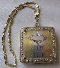 Antique Art Nouveau Deco Silver & Gold T Bar Chain Square Dance Flapper Compact