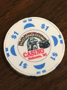RAINBOW CASINO NEKOOSA WI Casino CHIP $1.00 Eagle Pot Of Gold Obsolete 1 Dollar