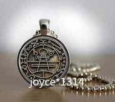 Key of Solomon Sigil Cabochon Tibetan silver Glass Chain Pendant Necklace #603