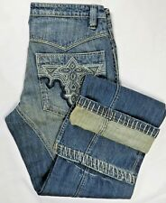 Antik Denim Mens Blue Jeans 34X34 Distressed Embroidered USA Western Bootcut NEW