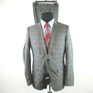 Hugo Boss Huge Genius Open Gray Check Reda Suit 40R 34W Traceable Wool $895