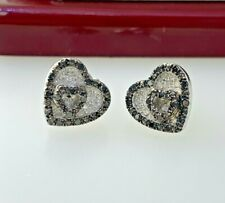 White & Black Diamond Heart Stud Earrings in Sterling Silver  Lot #30