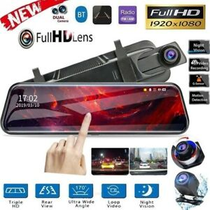 "10"" Touch Screen 1080P Car DVR Dash Camera Dual Lens Recorder Rearview Mirror"
