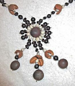 Vintage/Antique Art Deco Seed & Pod Hand Made Necklace - Buck Eye etc.