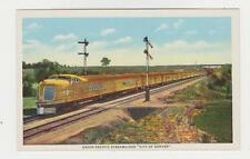 "Union Pacific Streamliner,""City of Denver"",Linen Postcard,c.1939-40s"