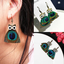 1 Pair Fashion Women's Feather Retro Owl Hook Drop Ear Stud Earrings Jewelry