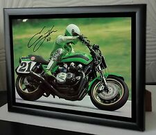 "Eddie Lawson ""Steady Eddie"" Motor Cycle Framed Canvas Print Signed ""Great Gift"""