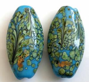 10pcs handmade Lampwork glass blue flower beads 15*30mm