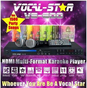 Vocal-Star VS-600 CDG HDMI Karaoke Machine Bluetooth 2 Microphones 1500 Songs