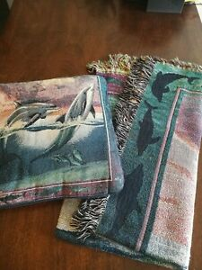 Set of Dolphin Pillow & Blanket Tapestry-Style Fringed Deep Purple Green Blue