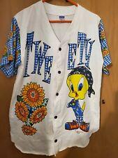 Tweety Warner Brothers Graphic Shirt White,Blue,Sunflowers Sz Lg Vintage 1995